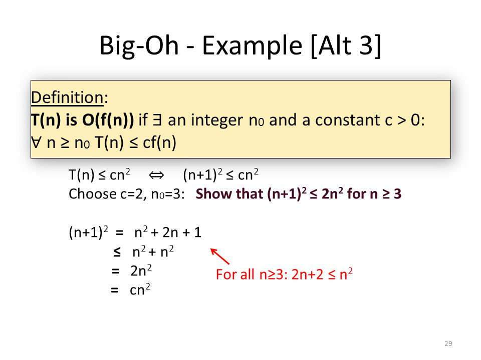 Big-Oh - Example [Alt 3] Definition:
